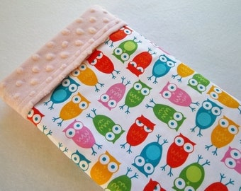Urban Zoologie Pink Owls./Soft Minky Baby Blanket ,Ready to Ship