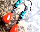 Red Tangerine Earrings with Natural Turquoise and Sterling Silver