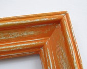 Distressed orange frame - 8x10 handpainted, distressed tangerine orange picture frame