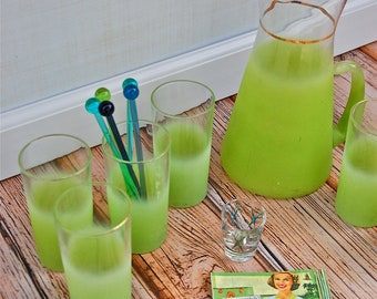 Retro Green Blendo Frosted Pitcher & Tumbler Set