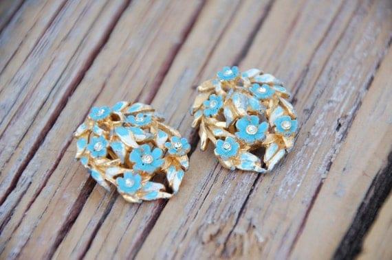 Vintage Cluster Metal Aqua Floral Gold Clip Earrings Shoe Clips