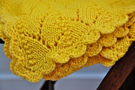 Reserved for Kara Vintage Hand Crocheted Afghan in Gorgeous Mustard Yellow