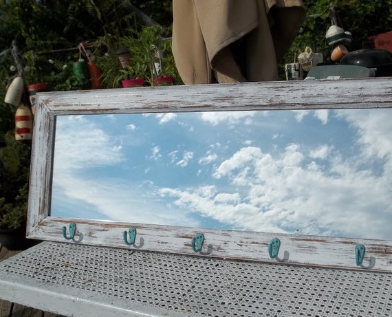 "36"" Beach Cottage Mirror with aqua hooks Wood beach decor"