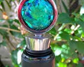 Bottle Stopper - Tidal Pool Reflection - Fused Glass Cabochon  304 Kitchen Grade Stainless Steel ECAGWS-14b