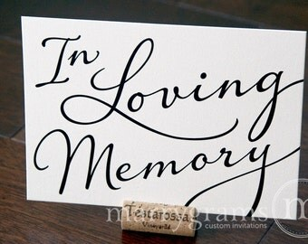 In Loving Memory Sign Table Card - Wedding Reception Seating Signage - Family Photo Table Sign - Matching Numbers Available SS03