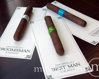 Groomsman Card, Cigar Card Will You Be My Groomsman, Your Service Is Requested as Best Man, Ring Bearer, Usher -Way to ask Groomsmen -Single