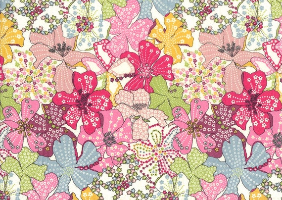 Mauvey C, seasonal Liberty print fat eighth, floral Liberty of London
