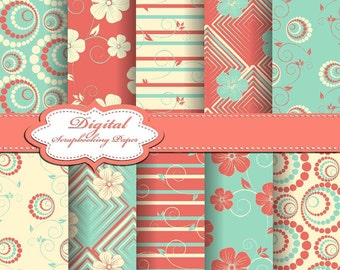 Cute Corall, Yellow and Green Christmas Digital Papers for scrapbooking, card making, Invites, photo cards (P152)