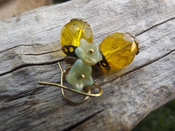 Lemons with Pale Blue Czech Flowers Earrings