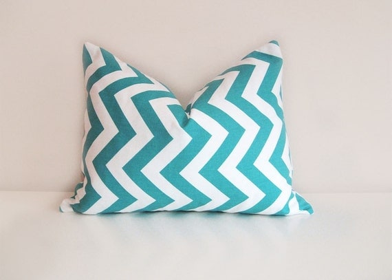 Turquoise Chevron Pillow. Decorative Pillow Cover. 12 x 18 Inch Lumbar Pillow. Toss Pillow.