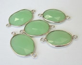 1 Pc - 925 Sterling Silver Bezel Rim,Genuine Faceted Green Chalcedony Connector,Earring,Pendant,Link,Charm,Jewelry Finding C5257