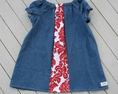 Denim Red Damask Pleated Peasant Dress 3T