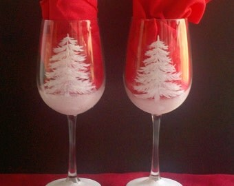 Christmas tree hand painted wine glass