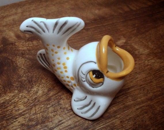 Vintage Ceramic Fish Figurine Bathroom Decor Toothpick