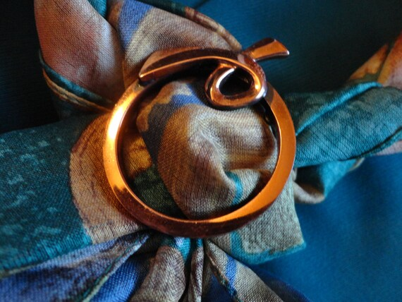 """VINTAGE """"Renoir"""" Brooch 1960s copper very smooth circular loop, light weight, could also use as scarf slide as shown"""