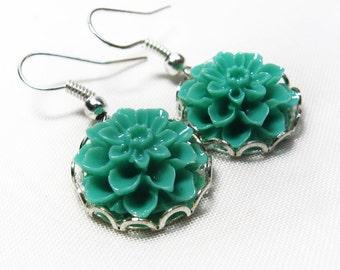 Floral Earrings- Dahlia Silver Earrings, Earrings for Girls, Earrings for Women