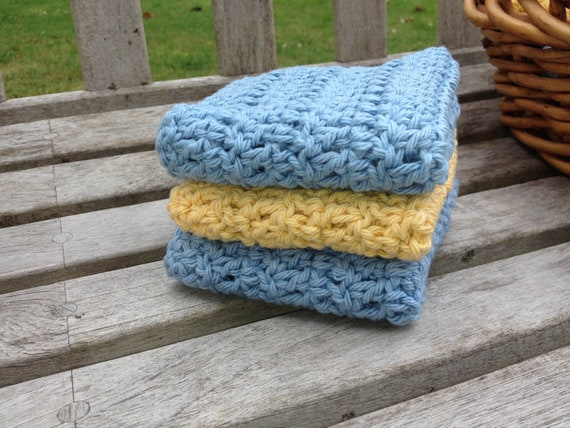 Eco-Friendly Cotton Washcloth Facecloth Scrubbie, All Natural, Set of Three, Blue Yellow
