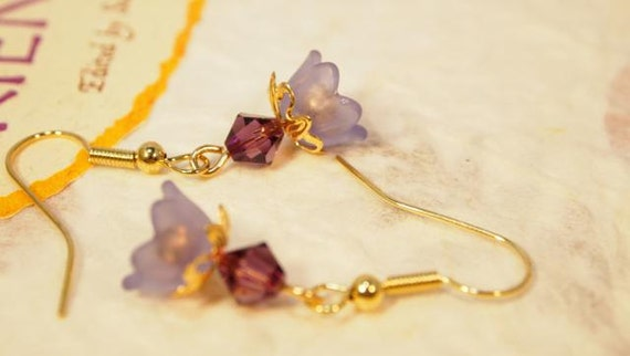 Victorian Style, Lavender Lucite Flower Beads, Gold Bead Caps, Purple Swarovski Crystals Dangle Pierced Earrings   CKDesigns.us
