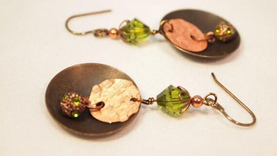 Metal Work Earrings,  Cooper, Brass and Swarovski Crystal Dangling Pierced Earrings   CKDesigns.us