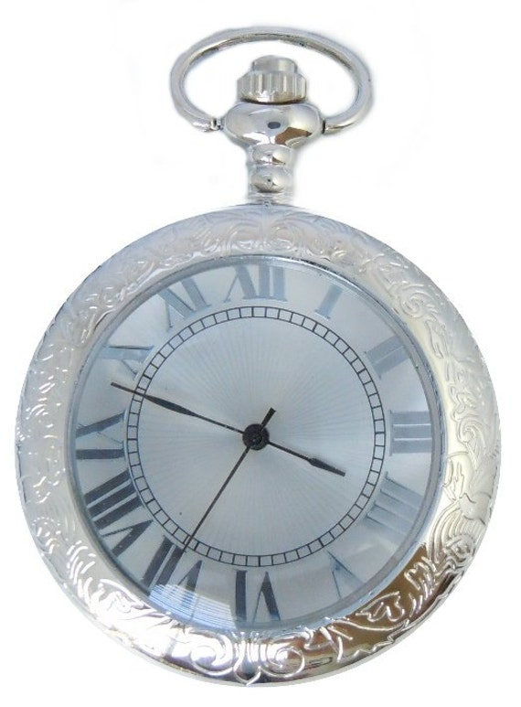 Mechanical Pocket Watch with Glass Cover - Hand Engraved