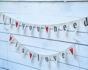 All you need is love burlap banner with red hearts