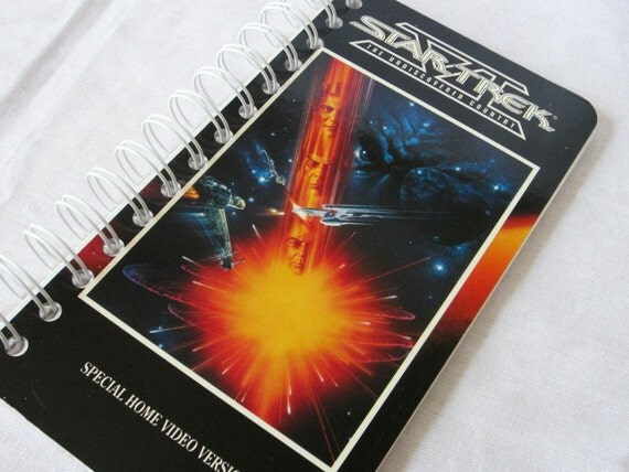 Upcycled Notebook/Recycled Notebook from a Star Trek VI: The Undiscovered Country VHS box, 50 sheets/100 pages