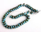 turquoise glass picasso rondel beads czech 20 pieces - DoubleHalo