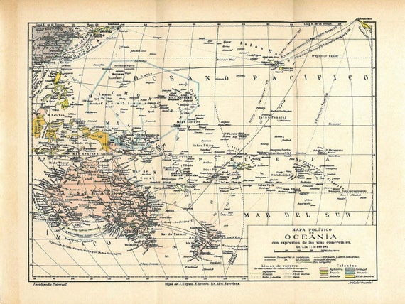 Oceania Vintage Map Political Division 1923 Australia New Zealand