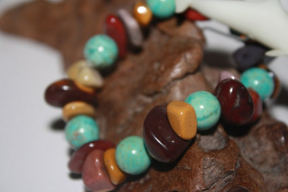 Elastic Teal and Browns Stone Bracelet