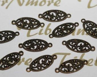12 pcs per pack 10x28mm Flat Oval Filigree Link Antique Bronze Finish Lead free Pewter