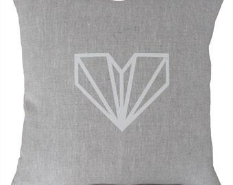 Diamond Heart handprinted linen cushion pillow White