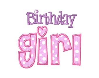 Birthday Girl Applique Machine Embroidery Design - 3 Sizes