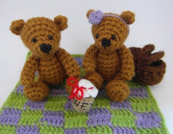 PATTERN ONLY - Picnic Teddy Bears - PDF instructions