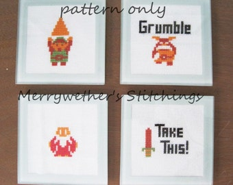 Legend of Zelda - 4 small Cross Stitch PATTERNS