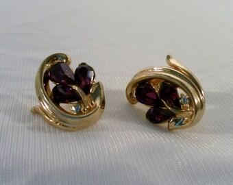 Vintage Trifari Faceted Amethyst and Crystal Goldtone Clip Back Earrings.  Art Noveau Leaf Design. Signed.