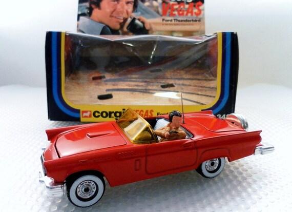 Vintage 1980 Corgi Toys Vegas 1957 Ford Thunderbird Diecast Car No. 348 In Original Box. 1/46 Scale.