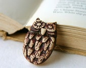 White Owl Ceramic Brooch Pin - Mr. Owl OOAK - Nature Vintage Style