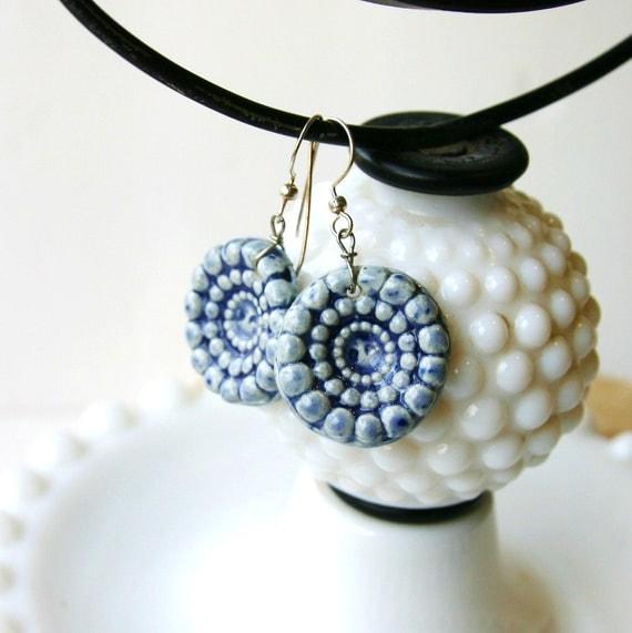 Beaded Earrings - Handmade Ceramic Beads - Nautical Blue - OOAK Dangle - Ready to Ship