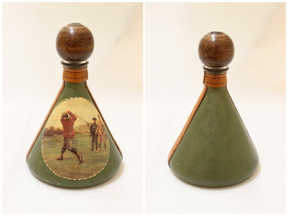 Vintage Green Color  Leather Covered  Glass Bottle Decanter with Stopper // Made in Italy.