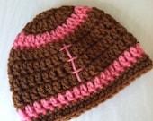 Crochet Baby Hat, Football Baby Hat, Newborn Hat, Newborn Baby Hat, Fall Football Infant Hat, Chocolate Hat, Baby Girl Hat