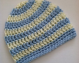 Baby Blue and Cream Stripe Beanie, Crochet Baby Hat, Newborn Hat, Baby Hat, Crochet Baby Beanie, Photo Prop