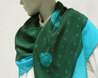 silk scarf handpainted discharge printed