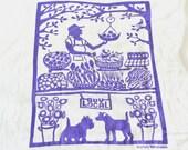 Flour Sack Dish Towel - Buy Local: Green or Purple