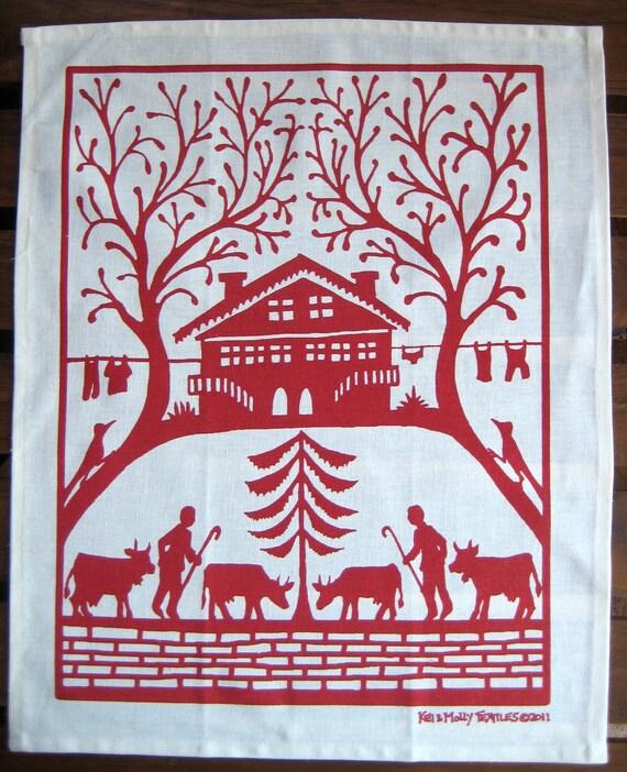 Swiss House Tea Towel: Red or Steel Blue