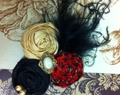 Christmast Colors Trio Rosettes in Red Plaid, Black and Gold with Feathers, and Embellished Center