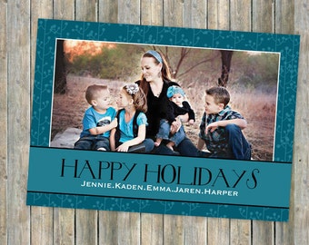 Family christmas card, holiday card with photo, photo card, digital printable file