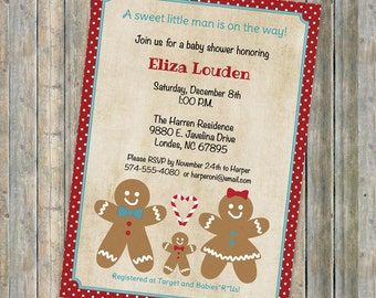 Christmas baby shower, Gingerbread family invitations,  Digital, Printable file