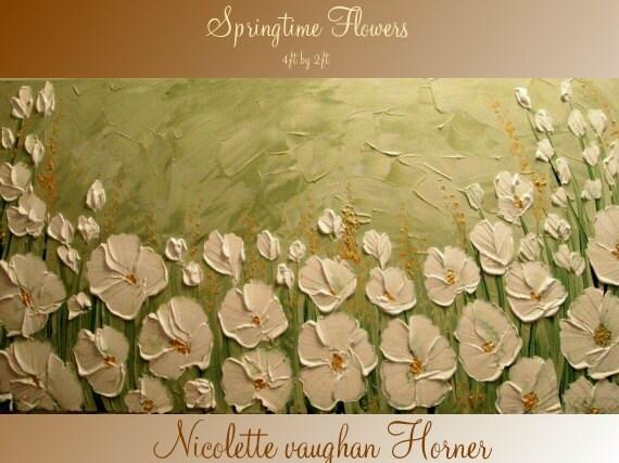 XLarge gallery wrap canvas Original Contemporary   oil/acrylic  Impasto Springtime Flowers painting by Nicolette Vaughan Horner