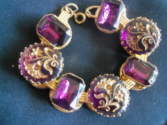 Vintage Purple Rhinestone Bracelet 1960's Collectible Mad Men Mod Jewelry Hollywood Regency Mid Century Modern