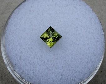 Loose Natural Peridot Princess Cut Gem 4mm